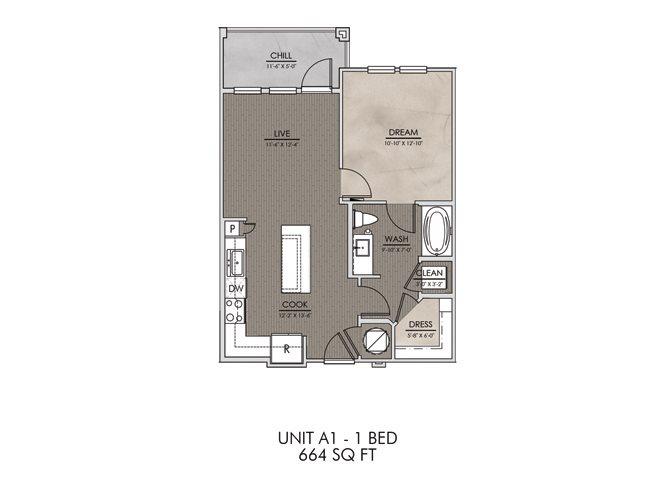 A1- One Bedroom/One Bath- 664 sf Floor Plan 1