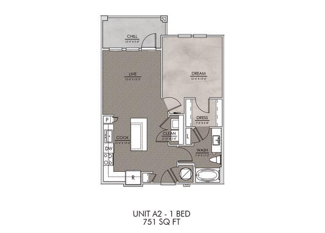 A2- One Bedroom/One Bath- 751 sf Floor Plan 2