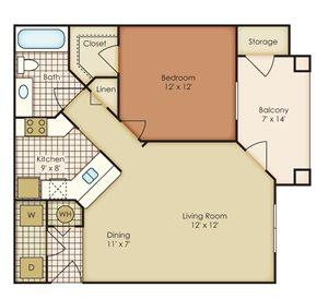 Lily 1 Bedroom 1 Bath - Courtney Meadows Apartments Jacksonville, Florida