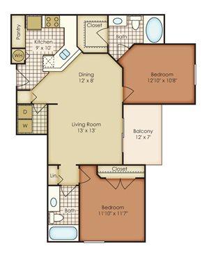 Astor 2 Bedroom 2 Bath - Courtney Meadows Apartments Jacksonville, Florida
