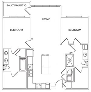 B2B Floorplan with Balcony - 1101 sq. ft.