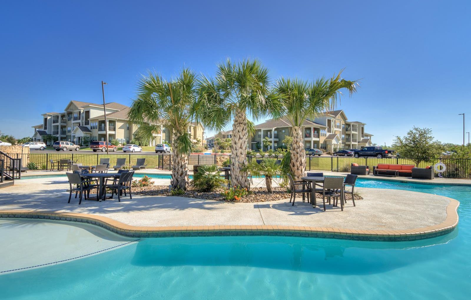 Luxury Apartments Pool. Relaxing Lazy River Style Pool at La Contessa Luxury Apartments  Laredo Texas in TX