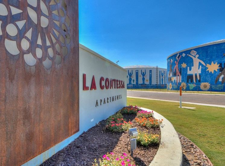 Monument Sign at La Contessa Luxury Apartments, Laredo