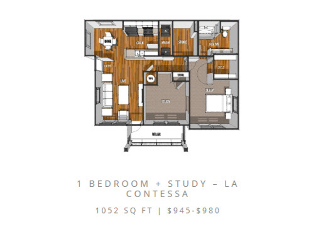 Floor Plan at La Contessa Luxury Apartments, Laredo, 78045