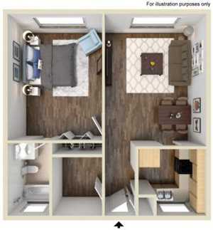 1 Bedroom/1 Bathroom