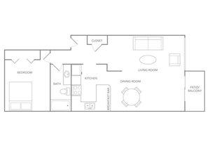 Floor plan at Paradise Palms, Phoenix, AZ