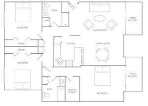 Floor plan at Paradise Palms, Phoenix, AZ 85014