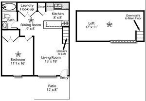 1 Bedroom/1 Bath PLUS Loft