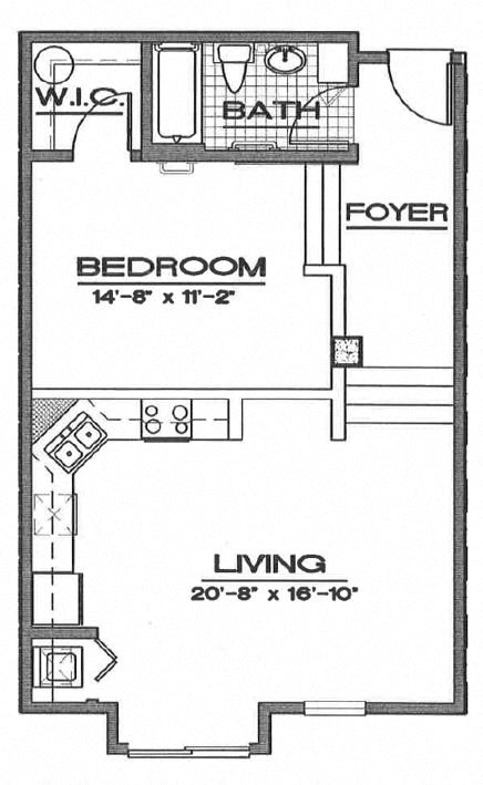 1/1 Lofts Floor Plan 1