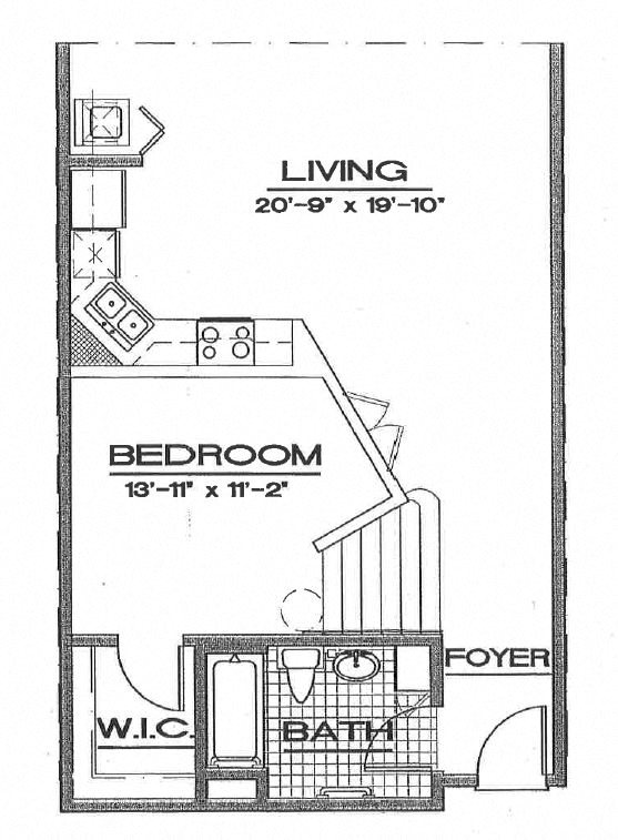1/1 Large Loft Floor Plan 4