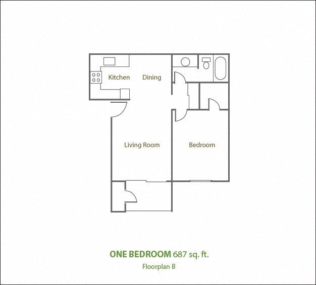 One Bedroom Medium Floor Plan 3