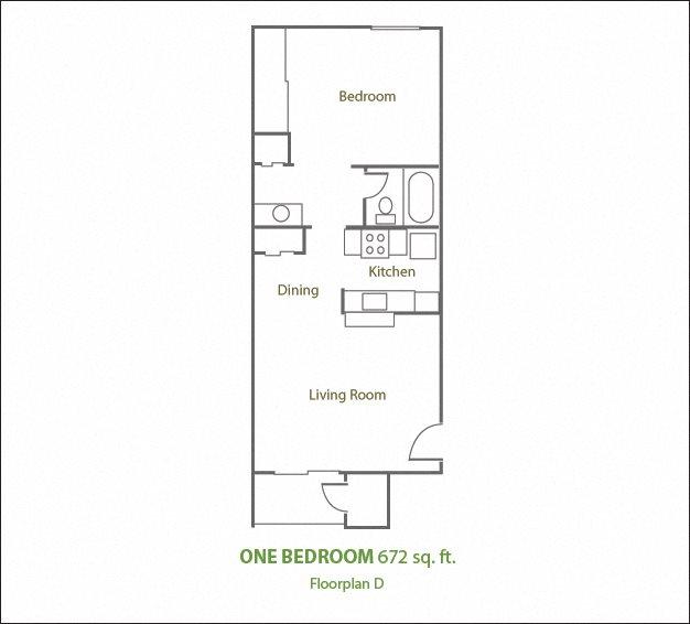 One Bedroom Small Floor Plan 2