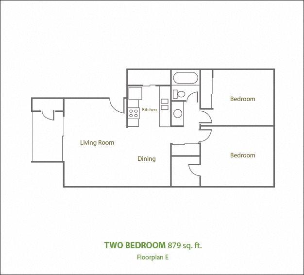 Two Bedroom One Bathroom Floor Plan 5