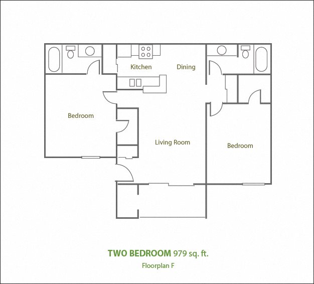 Two Bedroom Two Bathroom Floor Plan 6
