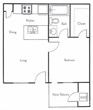 One Bedroom Small Floor Plan 1