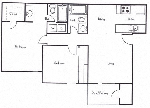 Two Bedroom Two Bath Floor Plan 3