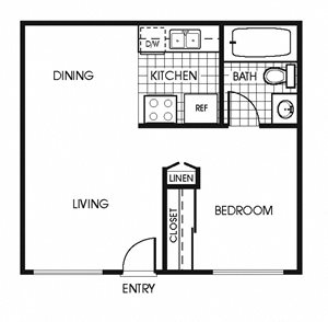 A1 Jr One Bedroom floorplan at Copper Canyon Apartments in Riverside, CA