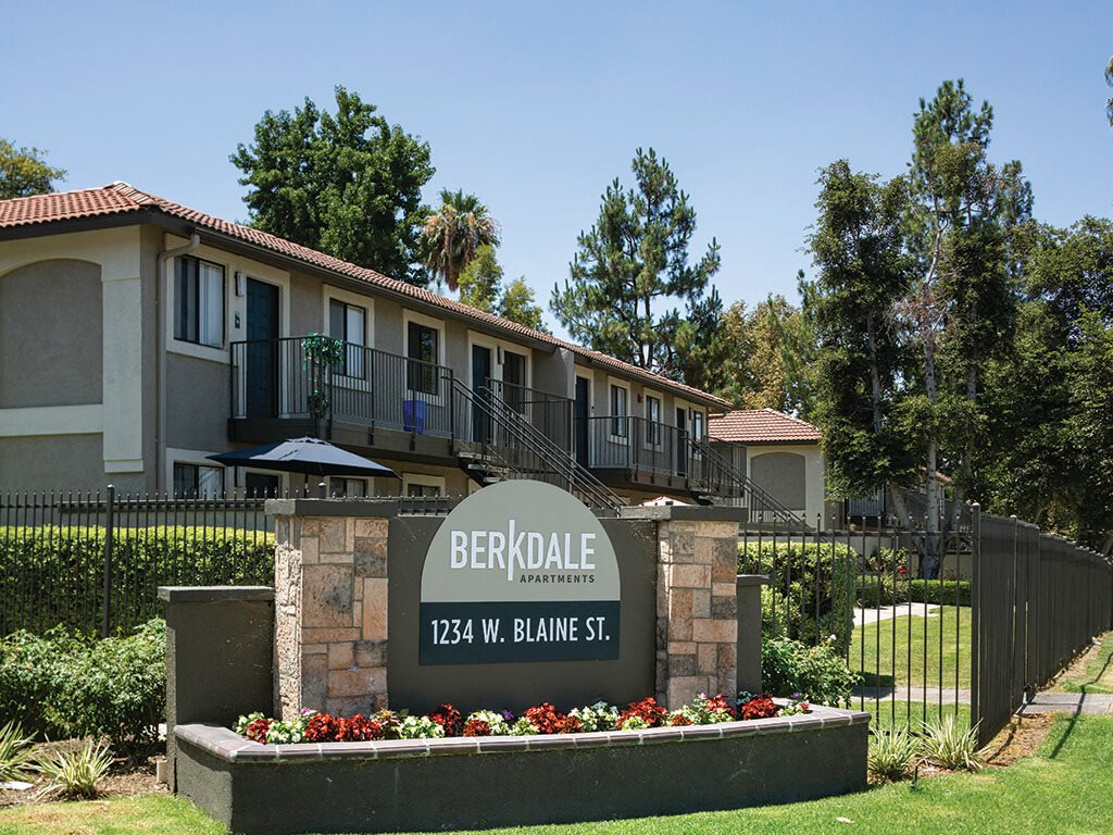 Signage at Berkdale apartments in Riverside CA