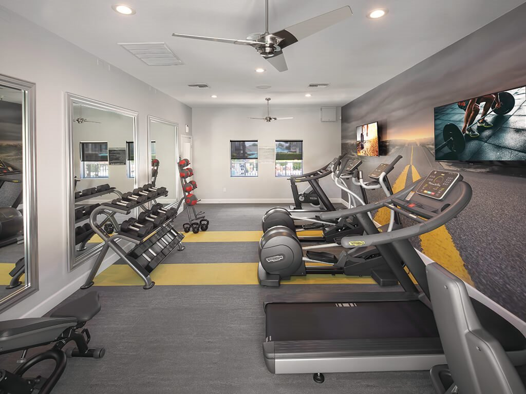Fitness center at Berkdale apartments in Riverside CA