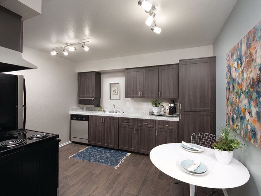 Kitchen at Berkdale apartments in Riverside CA