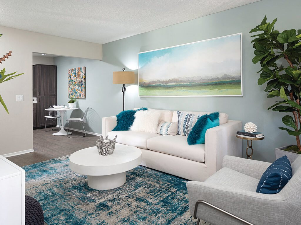 Living room at Berkdale apartments in Riverside CA