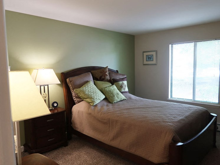 Bedroom at The Moorings Apartments in Roselle Illinois