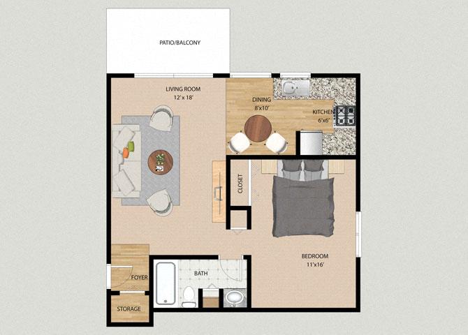 Breeze 1 Bedroom 1 Bathroom Floor Plan At The Moorings