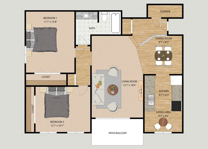 1, 2 & 3 Bedroom Floor Plans at The Moorings in Roselle, IL