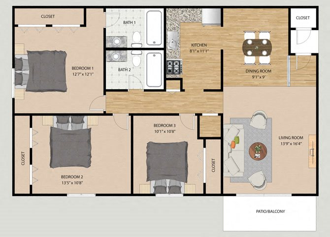 1 2 3 Bedroom Floor Plans At The Moorings In Roselle Il