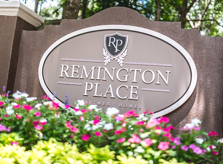 Sign at  Remington Place Apartments in Raleigh