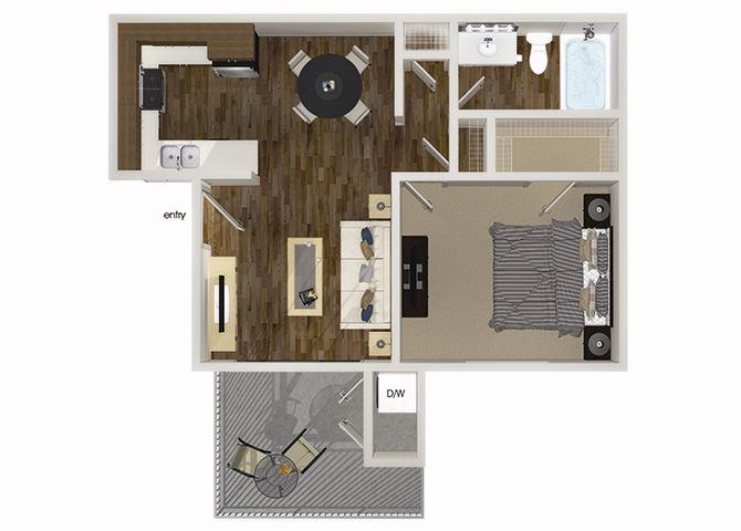A1 1 bedroom 1 bathroom floorplan at Hensley at Corona Pointe