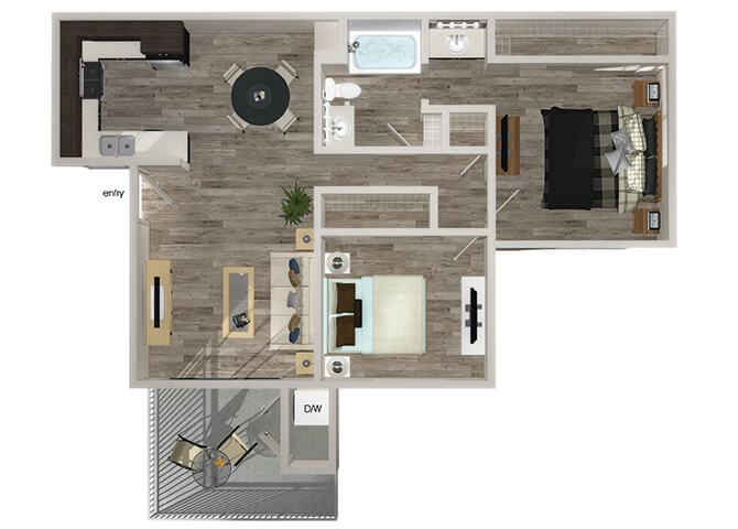B1 2 bedroom 1 bathroom floorplan at Hensley at Corona Pointe