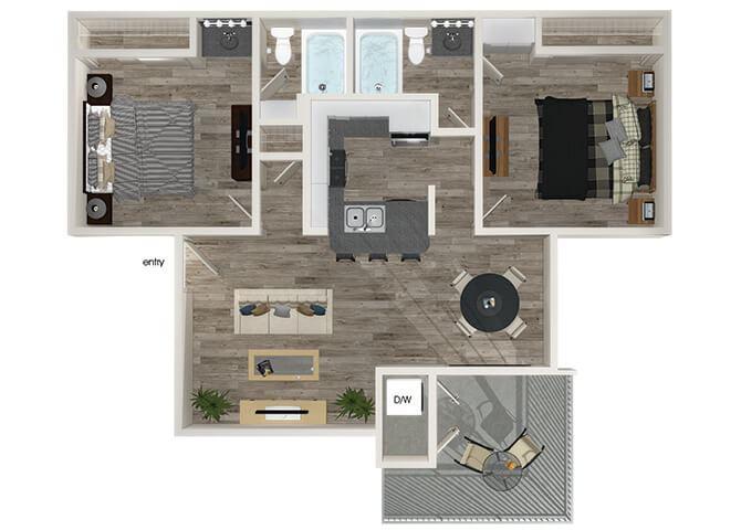 B2 2 bedroom 2 bathroom floorplan at Hensley at Corona Pointe