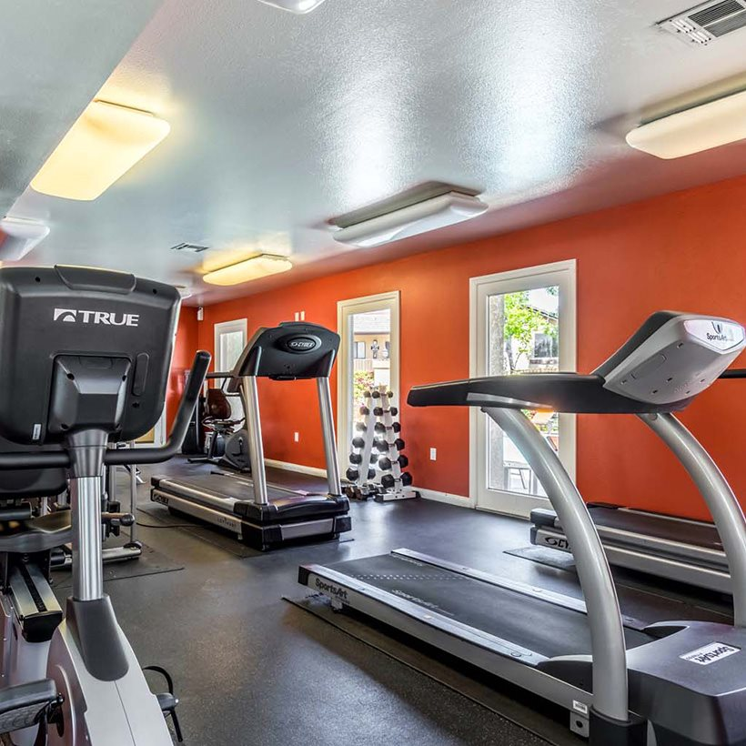 Fitness center at Waterstone at Corona Pointe Apartments in Corona, CA