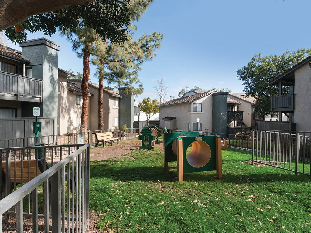 Dog park at Hensley at Corona Pointe Apartments in Corona, CA