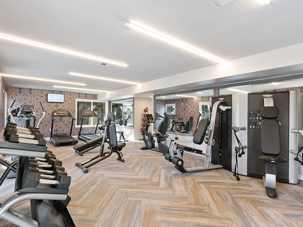 Fitness center at Hensley at Corona Pointe Apartments