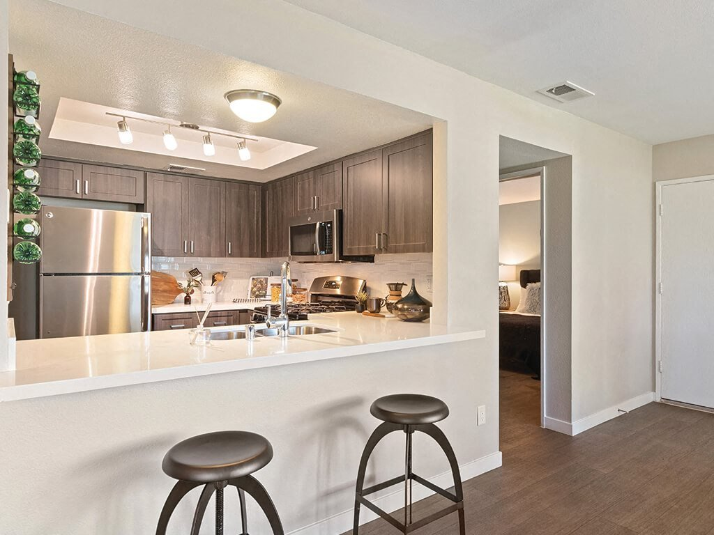 Kitchen view at Hensley at Corona Pointe Apartments