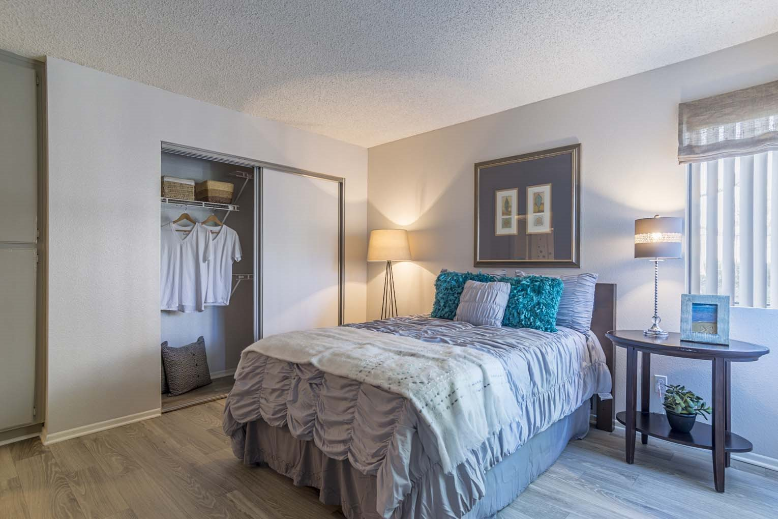 Guest bedroom at Hensley at Corona Pointe Apartments in Corona, CA