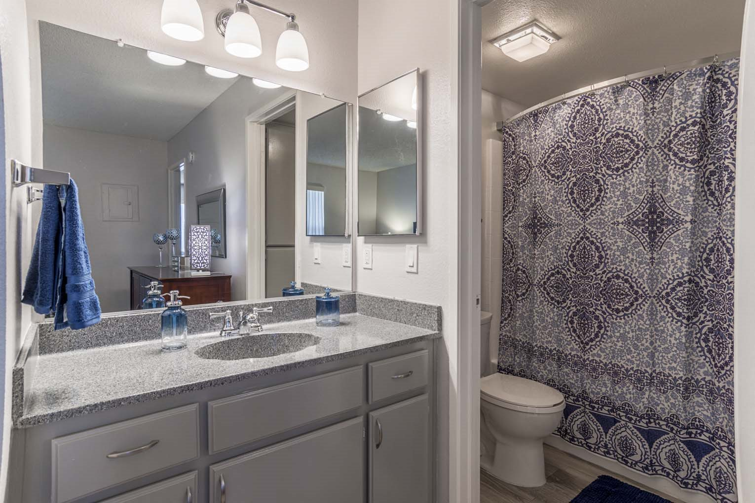 Renovated master bathroom at Hensley at Corona Pointe Apartments in Corona CA