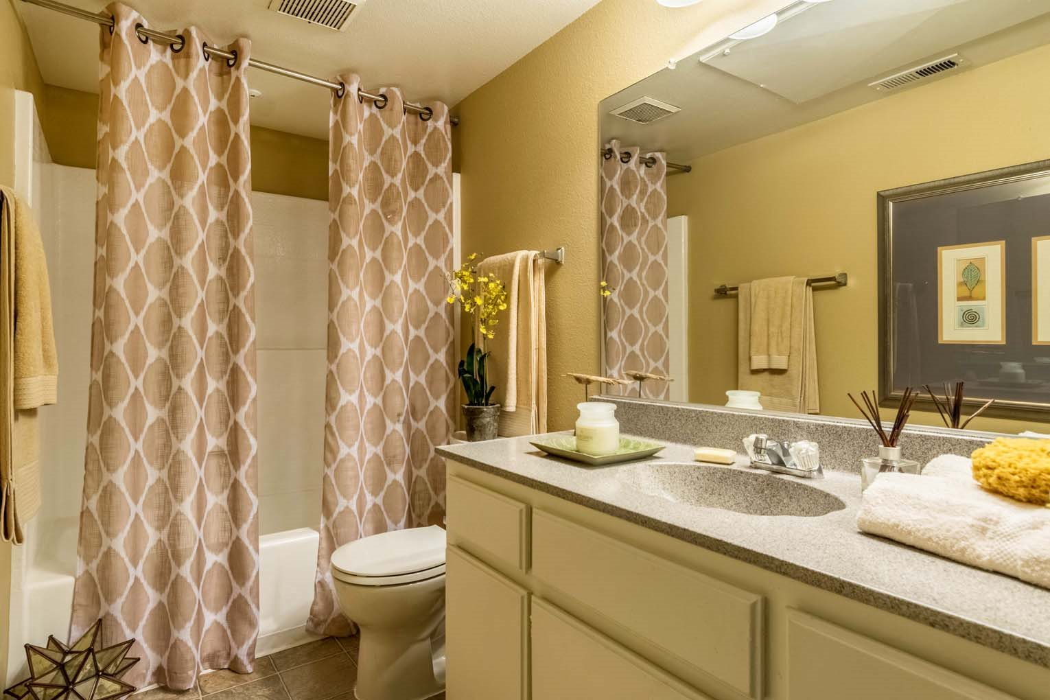 Guest bath at Hensley at Corona Pointe Apartments in Corona, CA