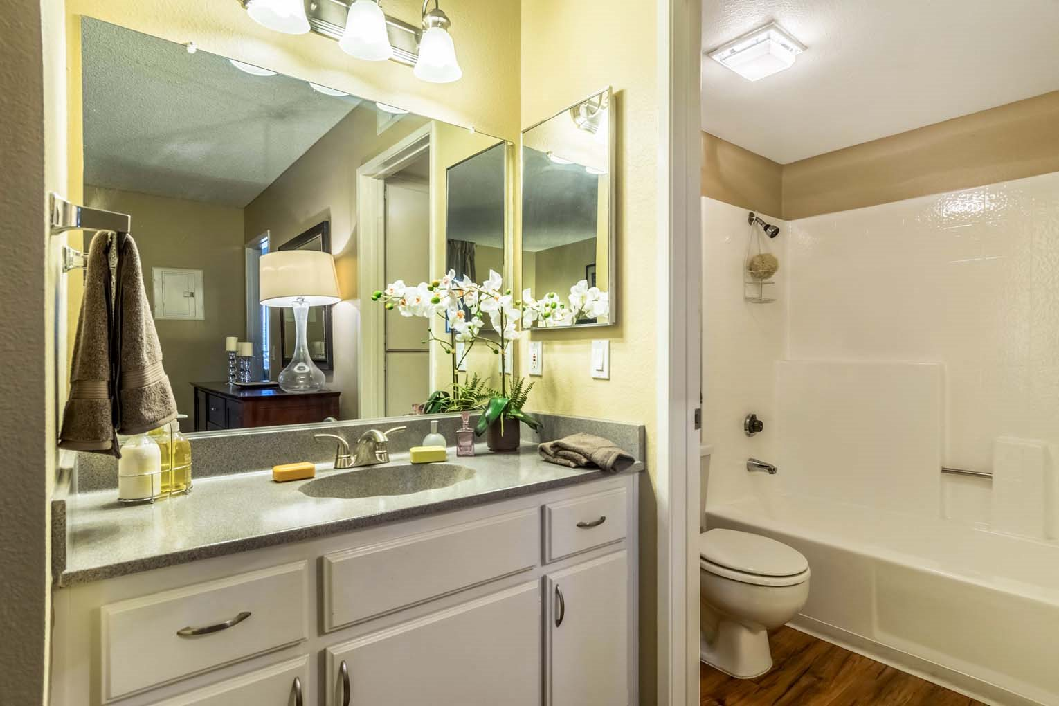 Master bath at Hensley at Corona Pointe Apartments in Corona, CA
