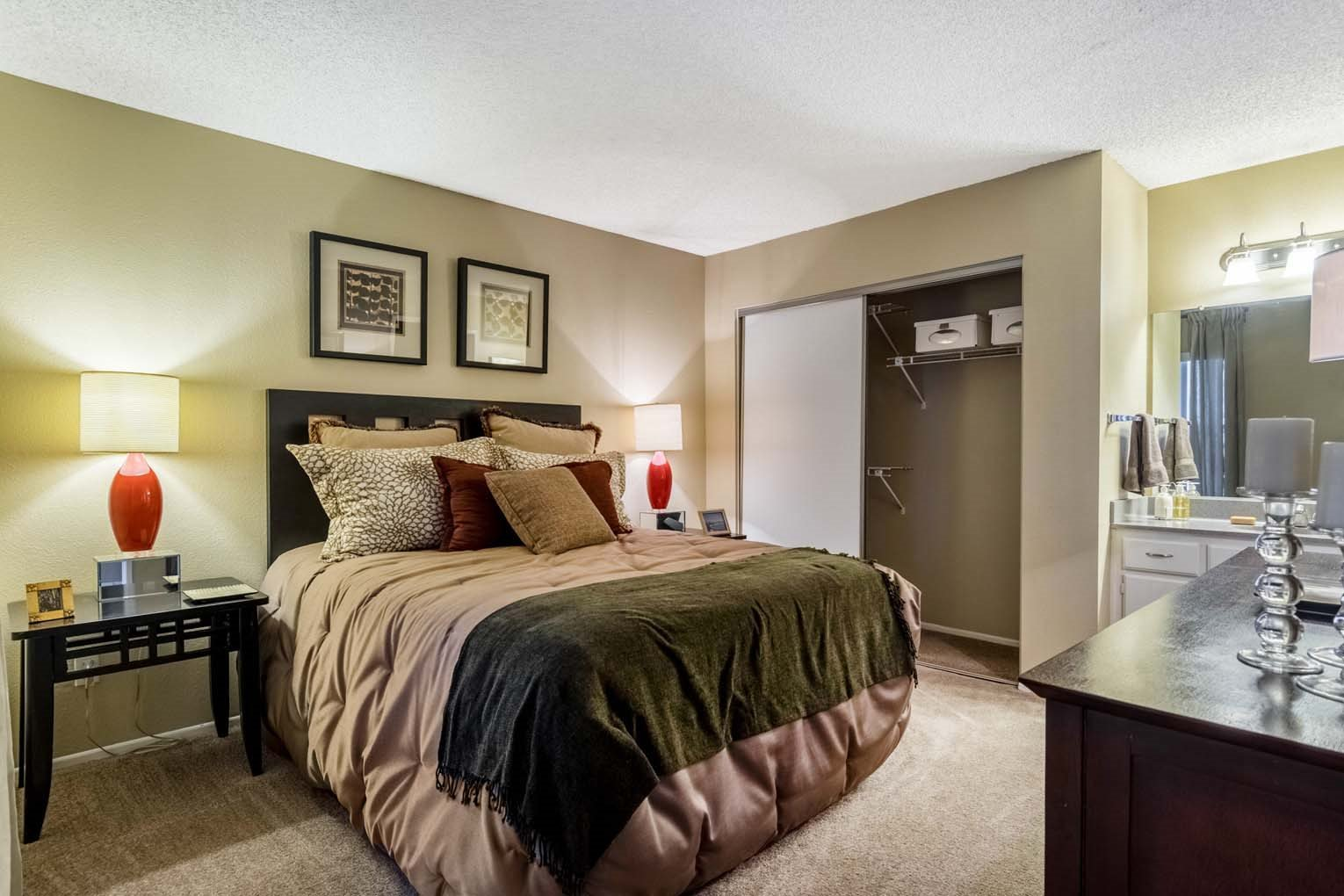 Bedroom at Hensley at Corona Pointe Apartments in Corona, CA