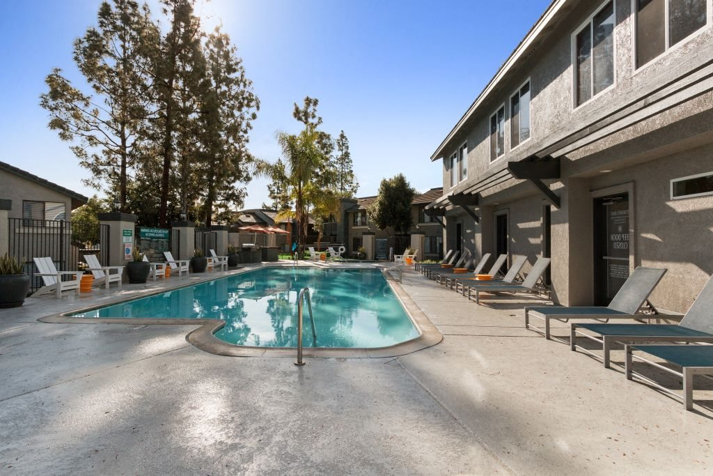 Pool at Hensley at Corona Pointe Apartments in Corona, CA