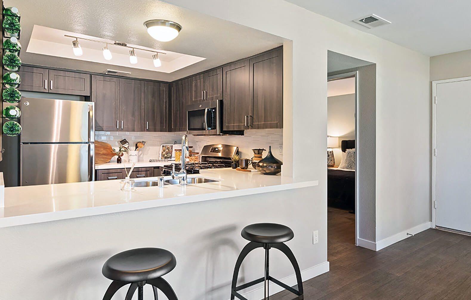 Upgraded kitchen at Hensley at Corona Pointe Apartments