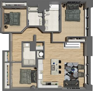 Suite Style 05 - 3 Bedrooms 2 Baths