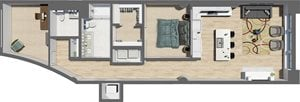 Suite Style 06 - 1 Bedroom 1.5 Baths with Den