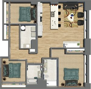 Suite Style 19 - 3 Bedrooms 2 Baths