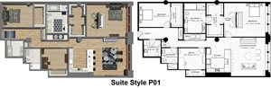Penthouse Suite Styles P01, P12: 2 Bedrooms 2 Baths with Office