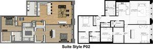 Penthouse Suite Style P02: 2 Bedrooms 2.5 Baths