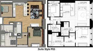 Penthouse Suite Styles P03, P05, P10, P11: 2 Bedrooms 2 Baths